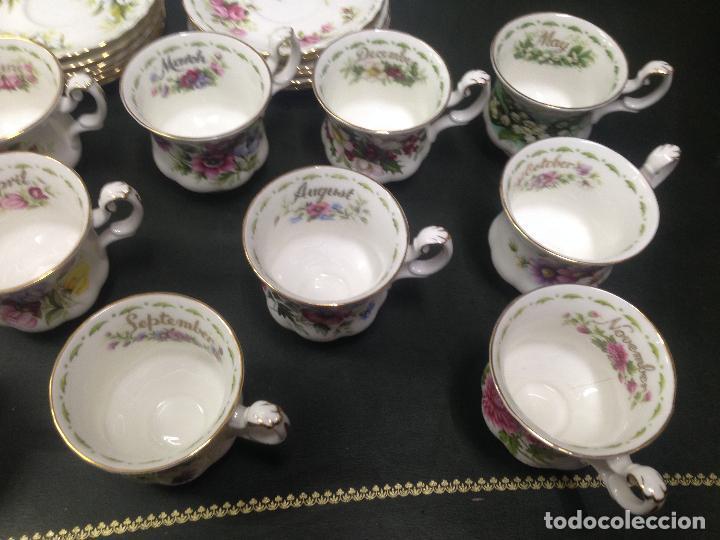 Antigüedades: JUEGO COMPLETO 12 TAZAS Y PLATOS CAFE TE ROYAL ALBERT COLECCION FLORES DEL MES FLOWER OF THE MONTH - Foto 4 - 156500042