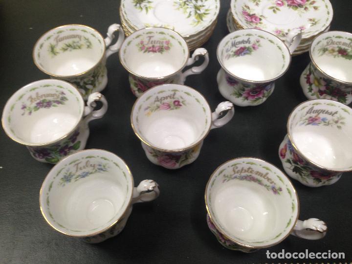 Antigüedades: JUEGO COMPLETO 12 TAZAS Y PLATOS CAFE TE ROYAL ALBERT COLECCION FLORES DEL MES FLOWER OF THE MONTH - Foto 5 - 156500042