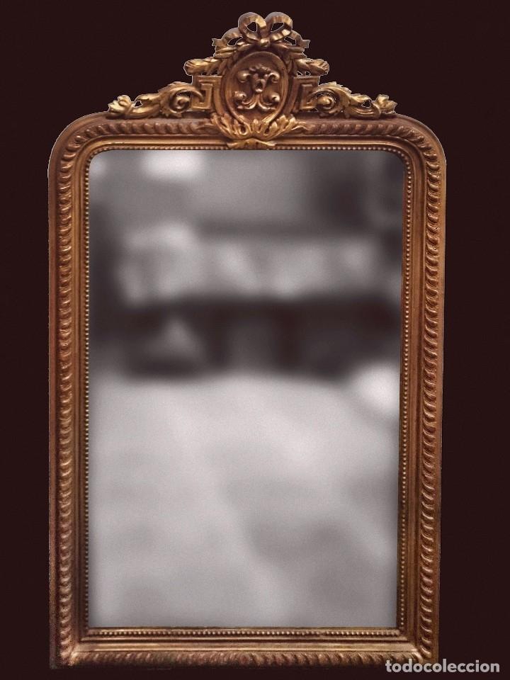 ESPECTACULAR ESPEJO DE MADERA ISABELINO DORADO CON COPETE DORADO AL ORO FINO. 160X93CM (Antigüedades - Muebles Antiguos - Espejos Antiguos)