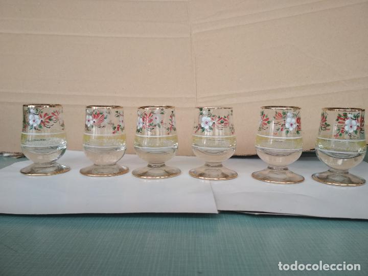 6 COPAS CRISTAL PINTADO. 7 CMS ALTURA (Antigüedades - Cristal y Vidrio - Otros)