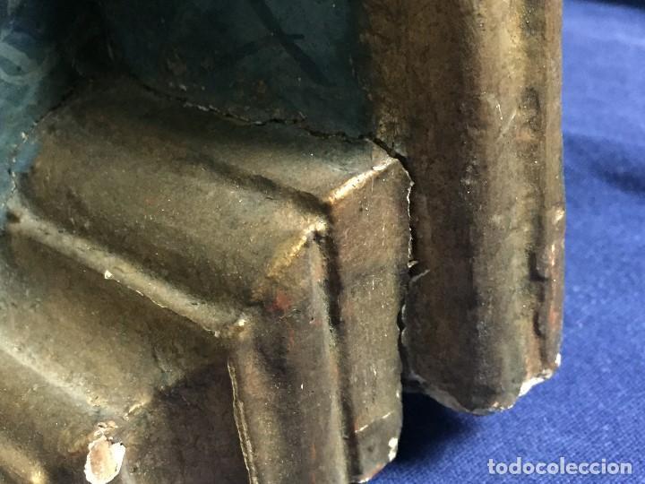 Antigüedades: MENSULA MADERA TALLADA DORADA CARLOS IV MARMORIZADA AZUL FFS S XIX 26X20X17CMS - Foto 23 - 124014067