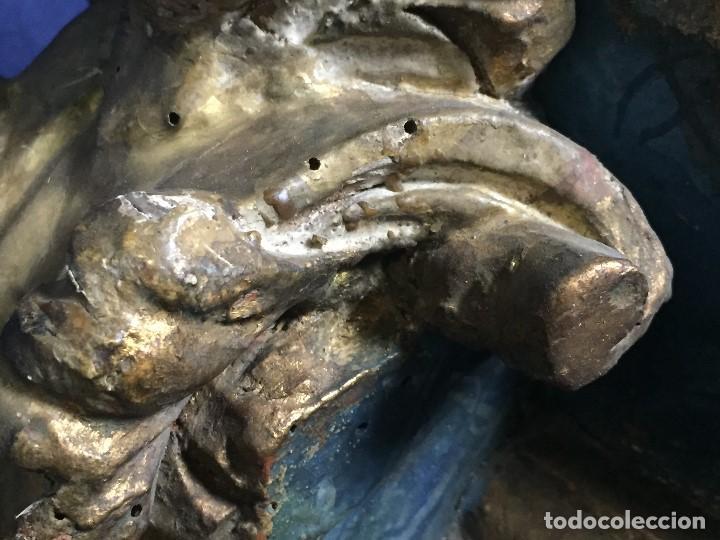 Antigüedades: MENSULA MADERA TALLADA DORADA CARLOS IV MARMORIZADA AZUL FFS S XIX 26X20X17CMS - Foto 24 - 124014067