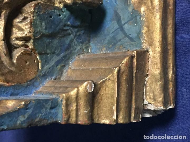 Antigüedades: MENSULA MADERA TALLADA DORADA CARLOS IV MARMORIZADA AZUL FFS S XIX 26X20X17CMS - Foto 4 - 124014067