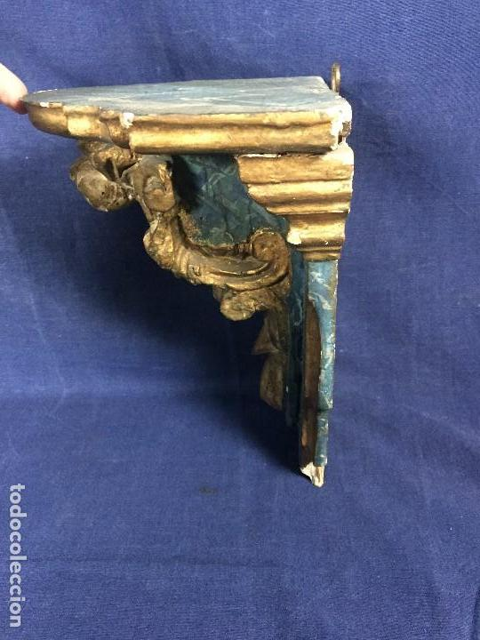 Antigüedades: MENSULA MADERA TALLADA DORADA CARLOS IV MARMORIZADA AZUL FFS S XIX 26X20X17CMS - Foto 5 - 124014067