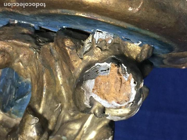 Antigüedades: MENSULA MADERA TALLADA DORADA CARLOS IV MARMORIZADA AZUL FFS S XIX 26X20X17CMS - Foto 9 - 124014067