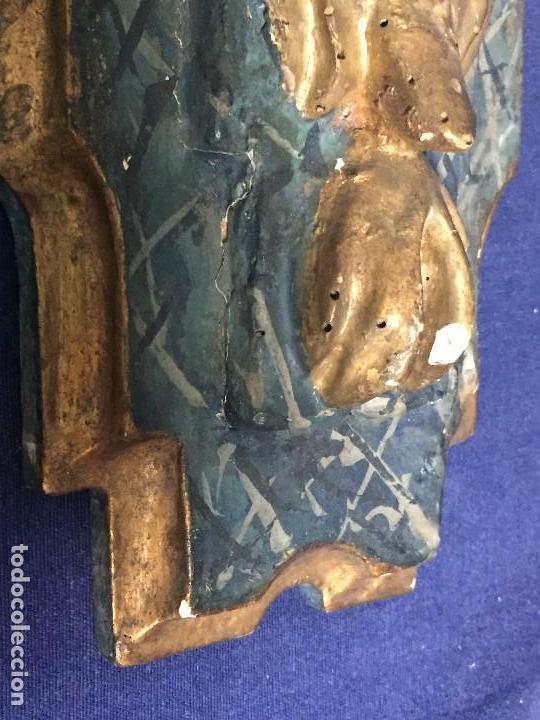 Antigüedades: MENSULA MADERA TALLADA DORADA CARLOS IV MARMORIZADA AZUL FFS S XIX 26X20X17CMS - Foto 13 - 124014067