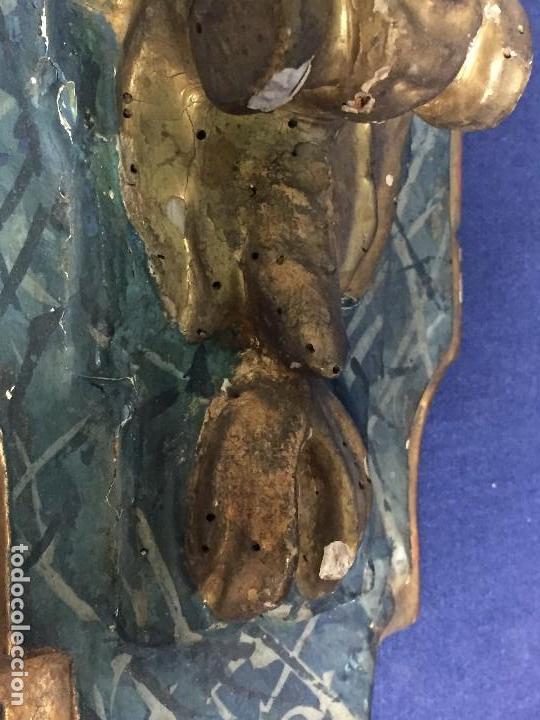Antigüedades: MENSULA MADERA TALLADA DORADA CARLOS IV MARMORIZADA AZUL FFS S XIX 26X20X17CMS - Foto 14 - 124014067