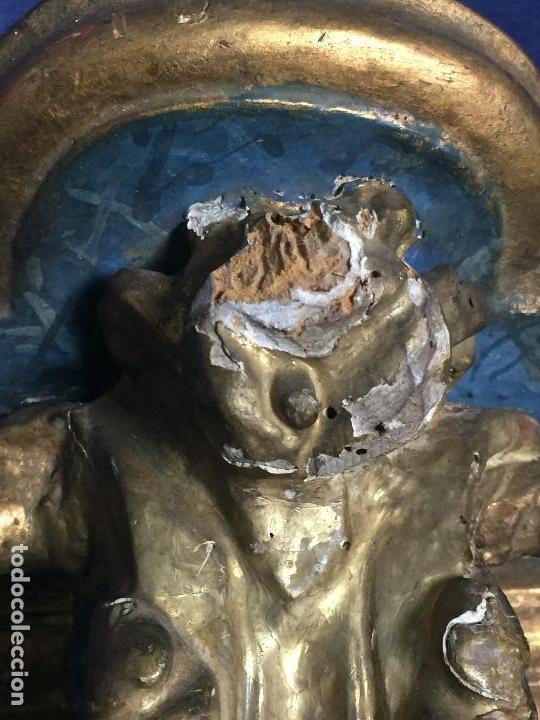 Antigüedades: MENSULA MADERA TALLADA DORADA CARLOS IV MARMORIZADA AZUL FFS S XIX 26X20X17CMS - Foto 15 - 124014067
