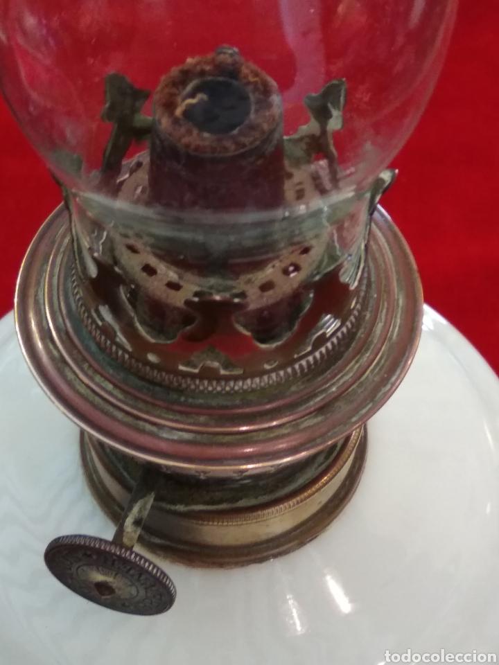 Antigüedades: Quinqué cristal opalina - Foto 2 - 124025934