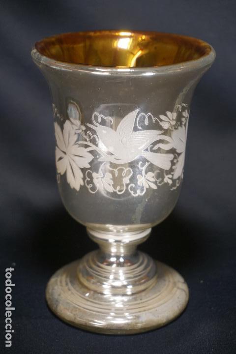 COPA. VASO. CRISTAL AZOGADO, GRABADO. GRANJA O BOHEMIA. SIGLO XIX. (Antigüedades - Cristal y Vidrio - La Granja)