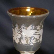 Antigüedades: COPA. VASO. CRISTAL AZOGADO, GRABADO. GRANJA O BOHEMIA. SIGLO XIX.. Lote 124138791