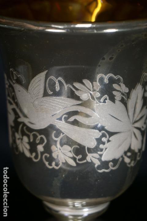 Antigüedades: COPA. VASO. CRISTAL AZOGADO, GRABADO. GRANJA O BOHEMIA. SIGLO XIX. - Foto 9 - 124138791