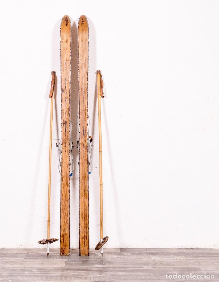 Antigüedades: Pareja De Esquíes Antiguos Alemanes - Foto 4 - 124146187
