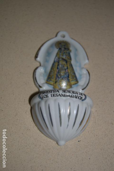 Antigüedades: benditera porcelana de los desamparados - Foto 2 - 124199947