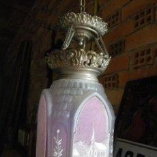 Antigüedades: MUY ANTIGUO FAROL O LAMPARA MODERNISTA PINTADA A MANO ,UNA MARAVILLA VERR . Lote 124205055