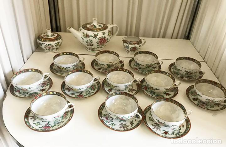 JUEGO TE Ó CAFE 12 SERVICIOS FINA PORCELANA CHINA, SELLO ROJO, CASCARA DE HUEVO (Antigüedades - Porcelanas y Cerámicas - China)