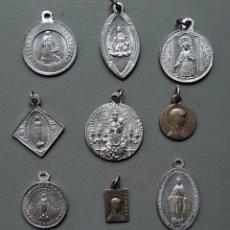Antigüedades: LOTE DE 9 MEDALLAS RELIGIOSAS ANTIGUAS. Lote 124228708