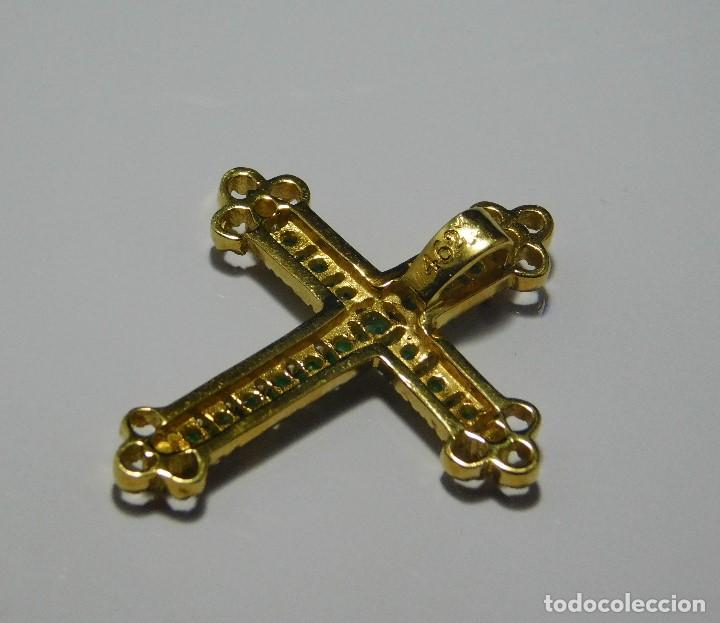 Antigüedades: BELLISIMA CRUZ ANTIGUA ORO 18K CON 16 ESMERALDAS 0,48CT Y 4 DIAMANTES 0,12 CT - Foto 7 - 124268743