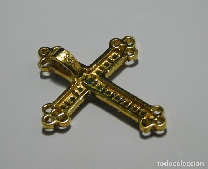 Antigüedades: BELLISIMA CRUZ ANTIGUA ORO 18K CON 16 ESMERALDAS 0,48CT Y 4 DIAMANTES 0,12 CT - Foto 8 - 124268743