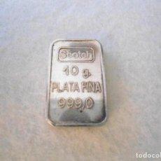 Antigüedades: PEQUEÑO LINGOTE PLATA 999 DE 10 GR.. Lote 135826362