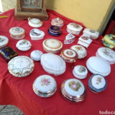 Antigüedades: LOTAZO CAJITAS BOMBONERAS PORCELANA FRANCESA LIMOGES ALTA CALIDAD SELLO LIMOGES. Lote 128629398