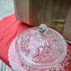 Antigüedades: ESPECTACULAR BOMBONERA DE CRISTAL FRANCÉS AÑOS 40 IMPECABLE. Lote 124422967