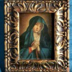 Antigüedades: ANTIGUO Y PEQUEÑO MARCO DE ESTILO MODERNISTA - IMAGEN RELIGIOSA - VIRGEN - MOLDURA DE MADERA TALLADA. Lote 124438675