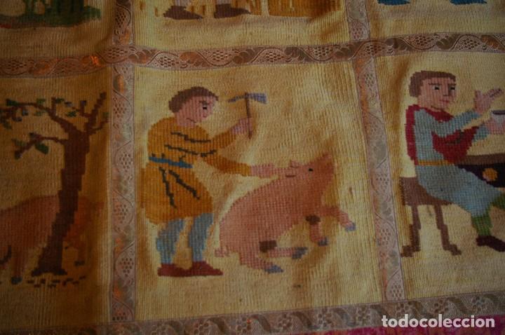 Antigüedades: tapiz hecho a mano. 1,415 x 1.21 m - Foto 3 - 124441543