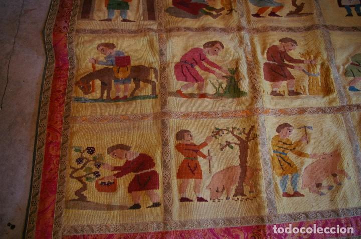 Antigüedades: tapiz hecho a mano. 1,415 x 1.21 m - Foto 6 - 124441543