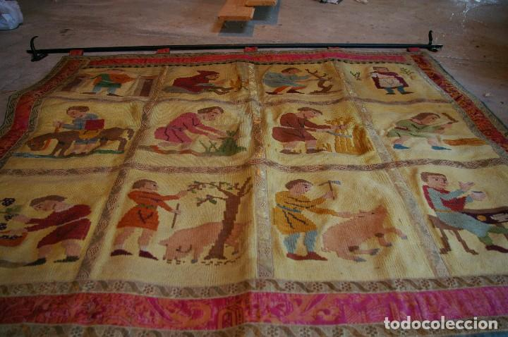 Antigüedades: tapiz hecho a mano. 1,415 x 1.21 m - Foto 8 - 124441543