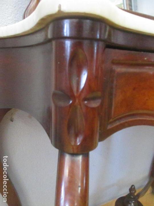 Antigüedades: Consola Isabelina (Ditada) - Bonito Espejo - Madera de Caoba - Mármol - con Cajón - S. XIX - Foto 5 - 124447911