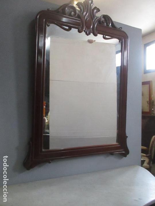 Antigüedades: Consola Isabelina (Ditada) - Bonito Espejo - Madera de Caoba - Mármol - con Cajón - S. XIX - Foto 12 - 124447911