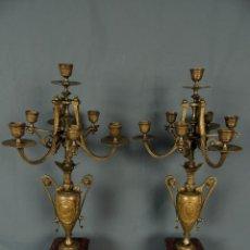 Antiques - CANDELABROS PAREJA BRONCE DORADO S.XIX. - 124460947