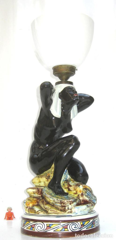 Antigüedades: EXCEPCIONAL! LAMPARA ART DECO IMPERIO CERAMICA EGIPCIA ESCLAVA NEGRA DESNUDA - Foto 3 - 124475675