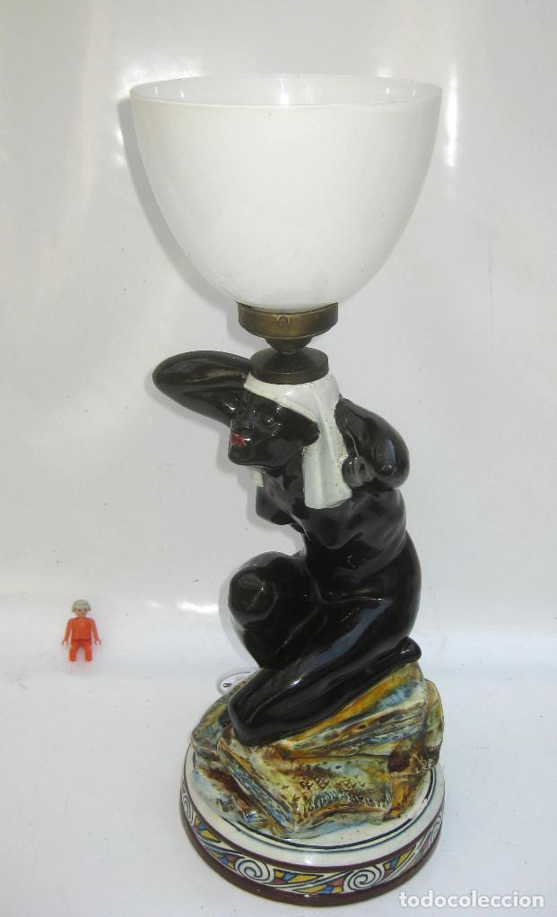Antigüedades: EXCEPCIONAL! LAMPARA ART DECO IMPERIO CERAMICA EGIPCIA ESCLAVA NEGRA DESNUDA - Foto 6 - 124475675