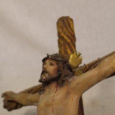 Antigüedades: ANTIGUO CRISTO CRUCIFICADO DE SACRISTÍA - OLOT.. Lote 124485479