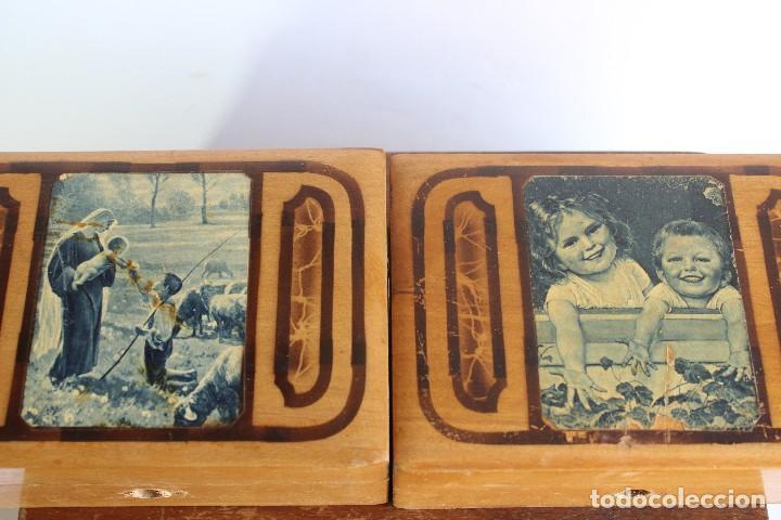 Antigüedades: CAJA DE MADERA CON CAJITAS EN SU INTERIOR AÑOS 50 DECORACIÓN VIRGEN APARECIENDO A PASTORCILLO - Foto 5 - 124490223