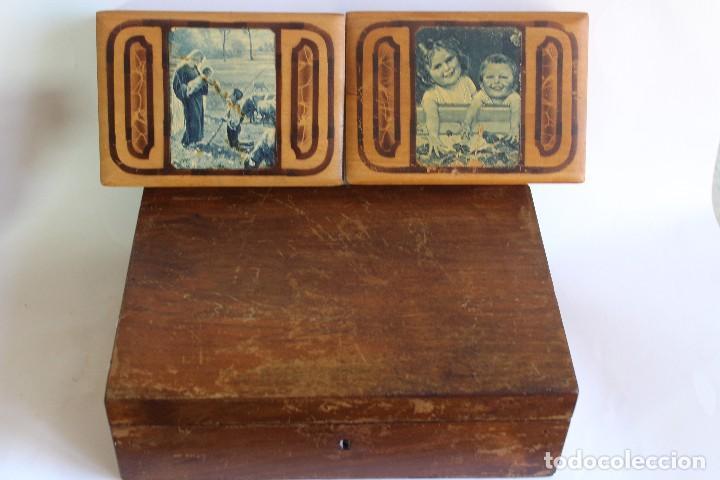 Antigüedades: CAJA DE MADERA CON CAJITAS EN SU INTERIOR AÑOS 50 DECORACIÓN VIRGEN APARECIENDO A PASTORCILLO - Foto 7 - 124490223