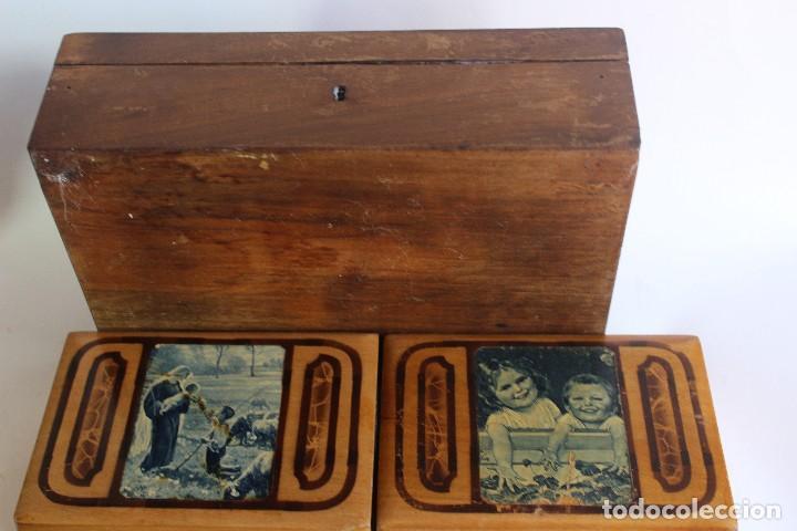 Antigüedades: CAJA DE MADERA CON CAJITAS EN SU INTERIOR AÑOS 50 DECORACIÓN VIRGEN APARECIENDO A PASTORCILLO - Foto 8 - 124490223
