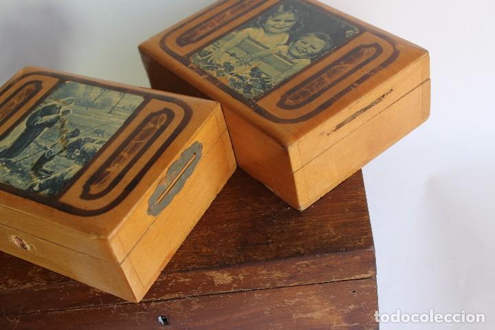 Antigüedades: CAJA DE MADERA CON CAJITAS EN SU INTERIOR AÑOS 50 DECORACIÓN VIRGEN APARECIENDO A PASTORCILLO - Foto 9 - 124490223
