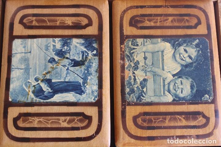Antigüedades: CAJA DE MADERA CON CAJITAS EN SU INTERIOR AÑOS 50 DECORACIÓN VIRGEN APARECIENDO A PASTORCILLO - Foto 11 - 124490223