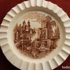 Antigüedades: ANTIGUO CENICERO GRANDE, LA CARTUJA DE SEVOILLA, COLOR MARRON. Lote 124490383