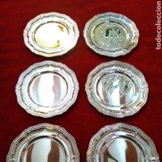 Antigüedades: PLATOS DE PAN PLATEADOS LOTE DE 6. Lote 124492926