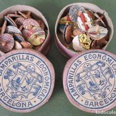 Antigüedades: PAREJA DE CAJAS DE LAMPARITAS PARA ACEITE. ET. BARCELONA. AÑOS 30/40.. Lote 124509511