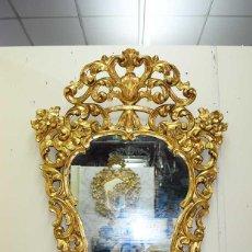 Antigüedades - ANTIGUO ESPEJO CORNUCOPIA DE MADERA TALLADA - 124588551