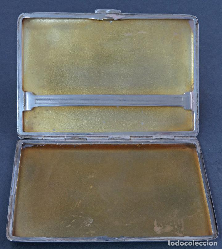 Antigüedades: Pitillera en plata grabada inglesa siglo XX - Foto 4 - 124635211