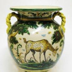 Antigüedades: GRAN JARRA CON ASAS TIPO ÁNFORA CON UN ANIMAL DE CARACTERÍSTICAS AFRICANAS PUENTE DEL ARZOBISPO. Lote 124641239