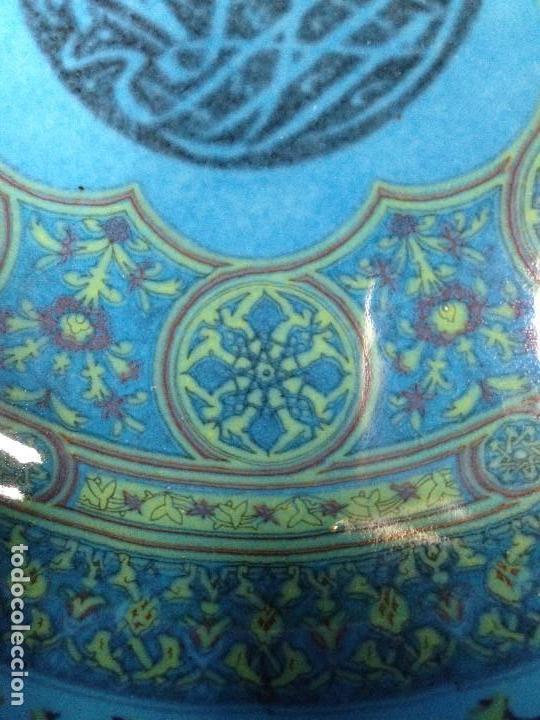 Antigüedades: decorativo plato colgar siria turquia ceramica vidriada egipto mitad s XX no marca fabricante 18,5cm - Foto 2 - 130906456