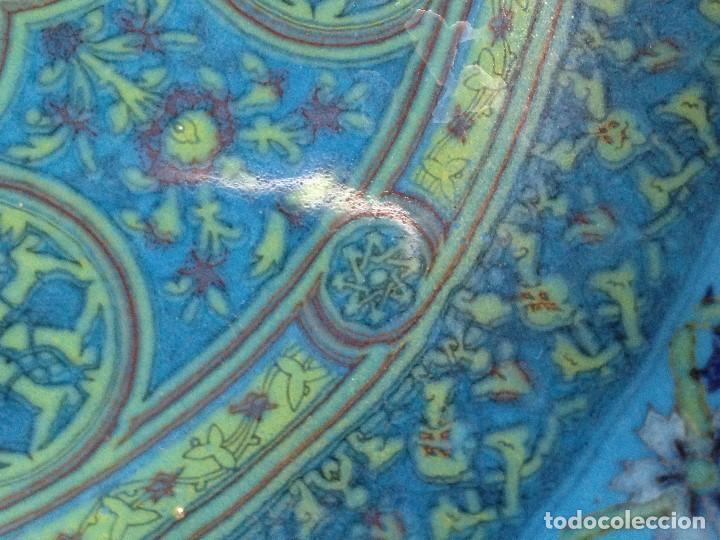Antigüedades: decorativo plato colgar siria turquia ceramica vidriada egipto mitad s XX no marca fabricante 18,5cm - Foto 8 - 130906456