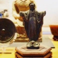 Antigüedades: ANTIGUO SAGRADO CORAZÓN COLONIAL SIGLO XVII-XVIII TALLADO ALEACIÓN DE PLOMO Y BRONCE- CRISTO. Lote 61471787